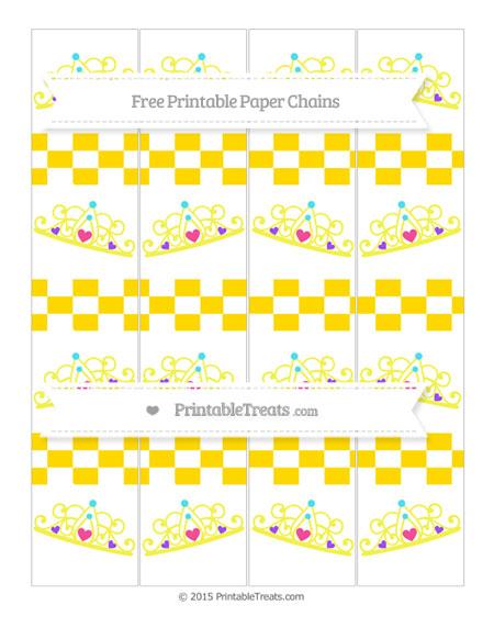 Free Gold Checker Pattern Princess Tiara Paper Chains