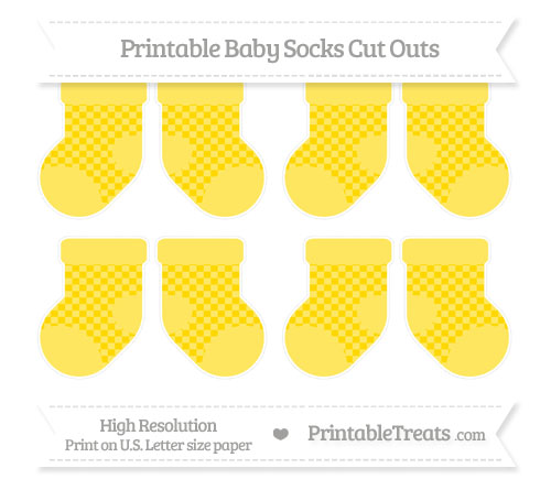 Free Gold Checker Pattern Small Baby Socks Cut Outs