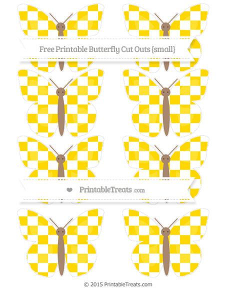 Free Gold Checker Pattern Small Butterfly Cut Outs
