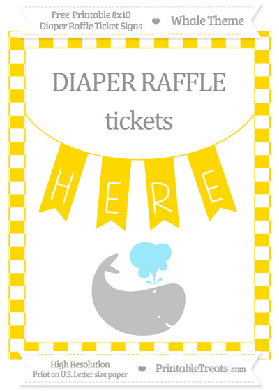 Free Gold Checker Pattern Whale 8x10 Diaper Raffle Ticket Sign