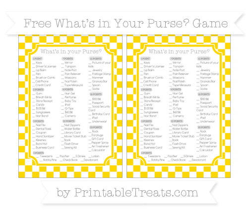 Free Gold Checker Pattern What's in Your Purse Baby Shower Game