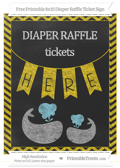 Free Gold Chevron Chalk Style Baby Whale 8x10 Diaper Raffle Ticket Sign