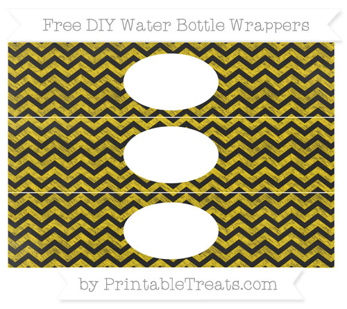 Free Gold Chevron Chalk Style DIY Water Bottle Wrappers