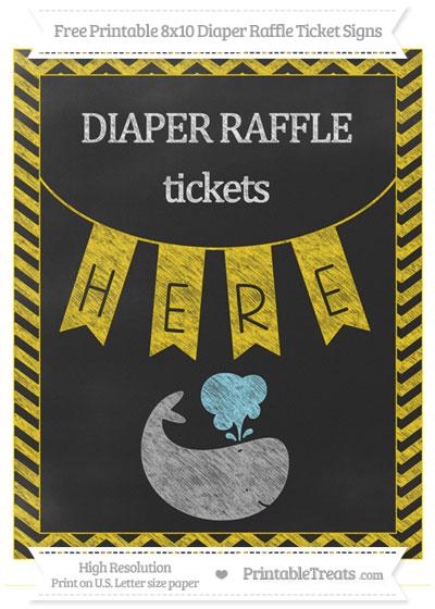 Free Gold Chevron Chalk Style Whale 8x10 Diaper Raffle Ticket Sign