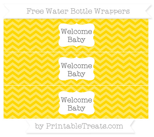 Free Gold Chevron Welcome Baby Water Bottle Wrappers