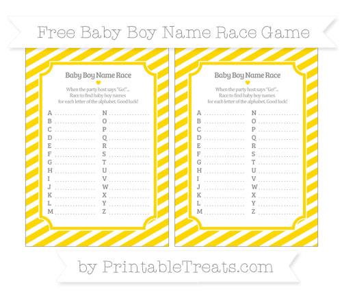 Free Gold Diagonal Striped Baby Boy Name Race Game