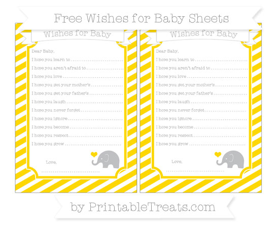 Free Gold Diagonal Striped Baby Elephant Wishes for Baby Sheets