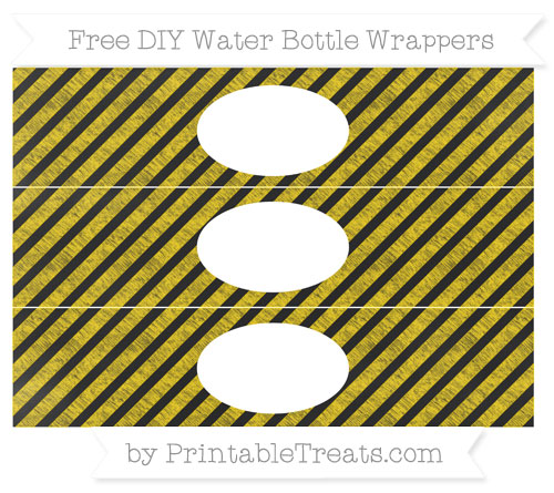 Free Gold Diagonal Striped Chalk Style DIY Water Bottle Wrappers