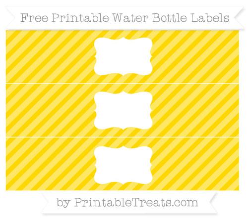 Free Gold Diagonal Striped Water Bottle Labels