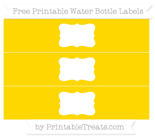 Free Gold Water Bottle Labels