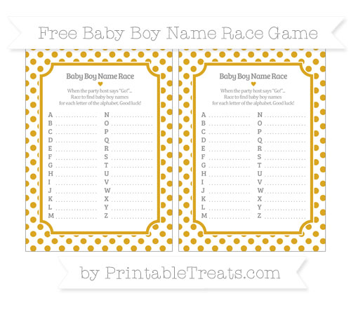 Free Gold Dotted Pattern Baby Boy Name Race Game