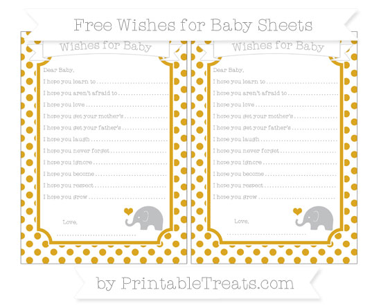 Free Gold Dotted Pattern Baby Elephant Wishes for Baby Sheets