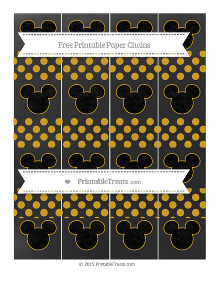 Free Gold Dotted Pattern Chalk Style Mickey Mouse Paper Chains