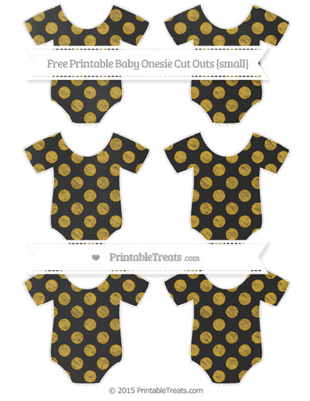 Free Gold Dotted Pattern Chalk Style Small Baby Onesie Cut Outs