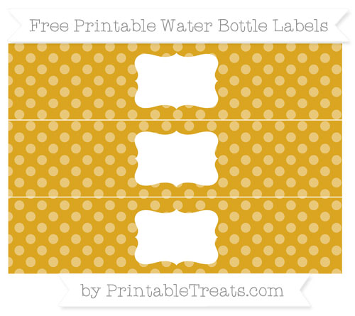 Free Gold Dotted Pattern Water Bottle Labels
