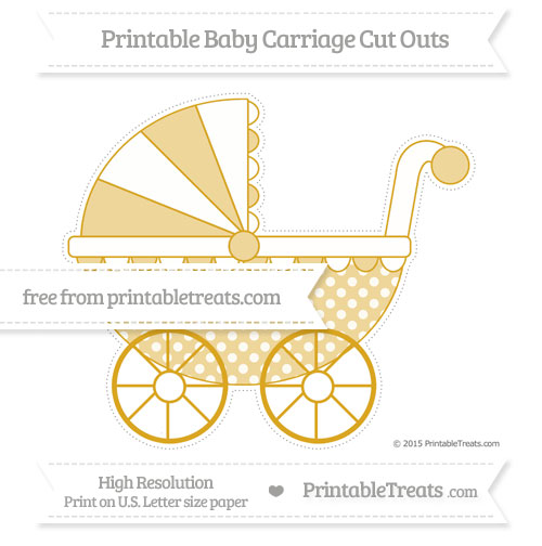 Free Gold Dotted Pattern Extra Large Baby Carriage Cut Outs