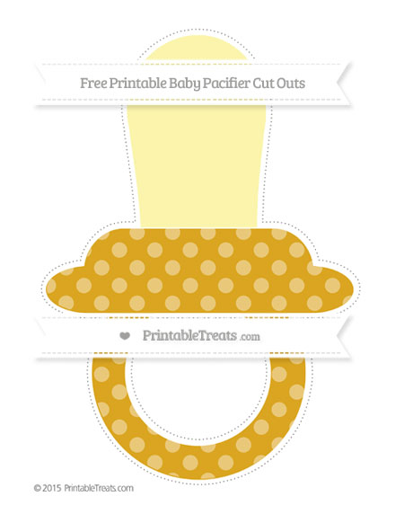Free Gold Dotted Pattern Extra Large Baby Pacifier Cut Outs