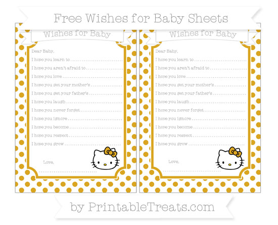 Free Gold Dotted Pattern Hello Kitty Wishes for Baby Sheets