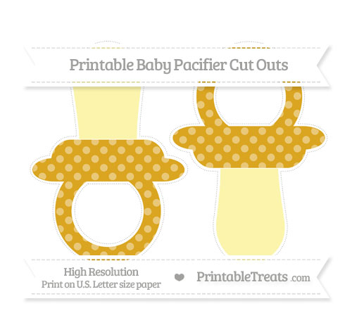 Free Gold Dotted Pattern Large Baby Pacifier Cut Outs