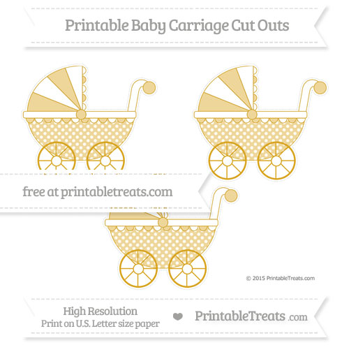 Free Gold Dotted Pattern Medium Baby Carriage Cut Outs