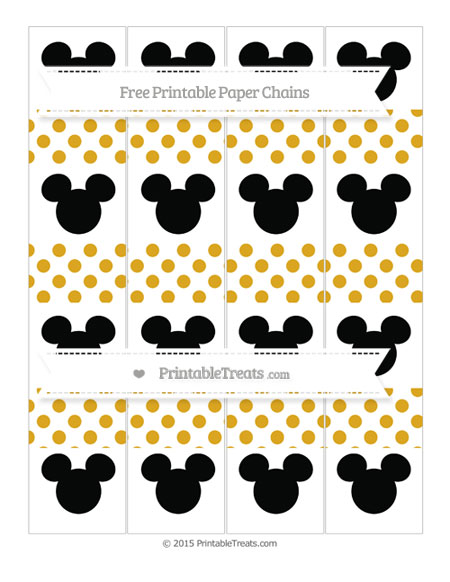 Free Gold Dotted Pattern Mickey Mouse Paper Chains