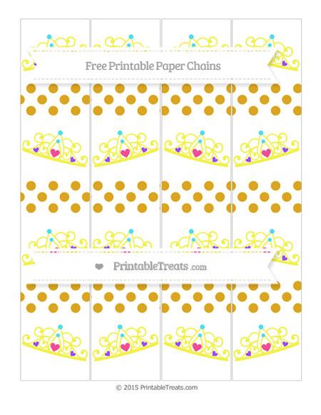 Free Gold Dotted Pattern Princess Tiara Paper Chains