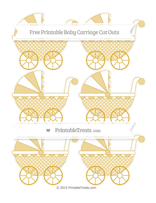 Free Gold Dotted Pattern Small Baby Carriage Cut Outs