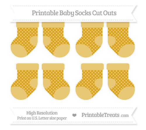 Free Gold Dotted Pattern Small Baby Socks Cut Outs