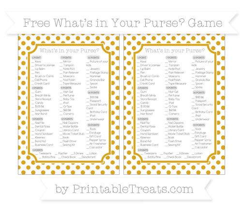 Free Gold Dotted Pattern What's in Your Purse Baby Shower Game