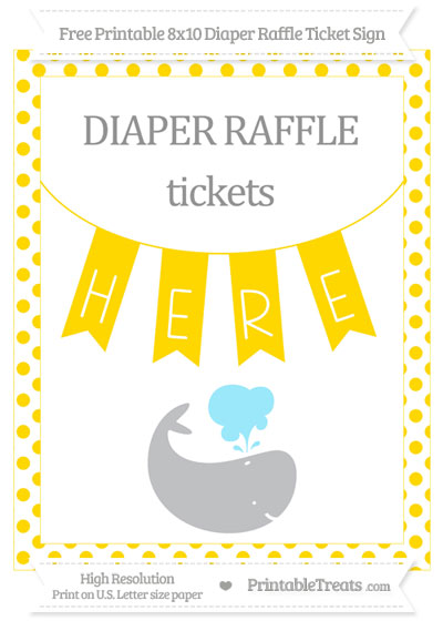 Free Gold Dotted Whale 8x10 Diaper Raffle Ticket Sign