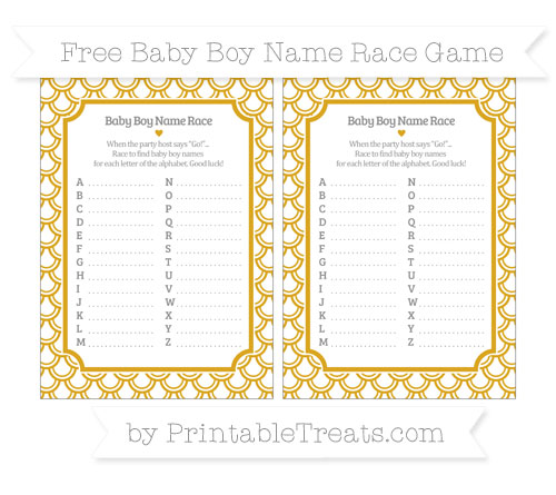 Free Gold Fish Scale Pattern Baby Boy Name Race Game