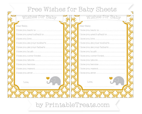 Free Gold Fish Scale Pattern Baby Elephant Wishes for Baby Sheets