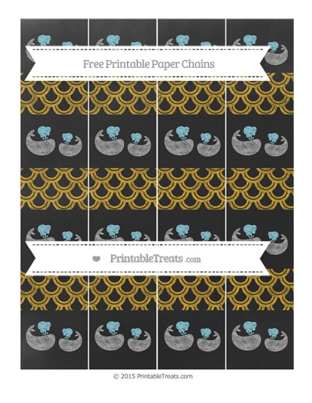 Free Gold Fish Scale Pattern Chalk Style Baby Whale Paper Chains