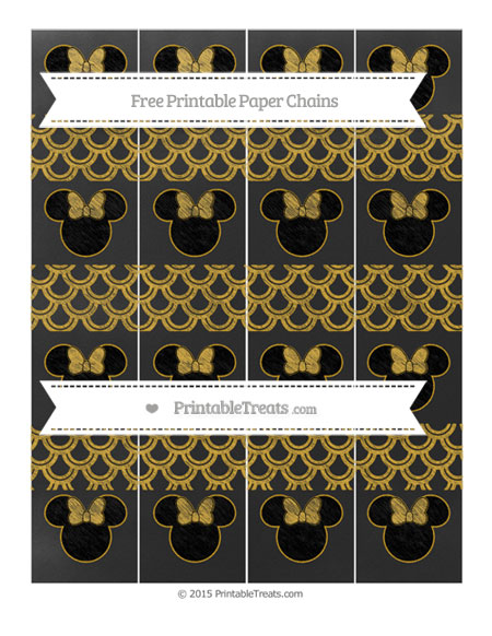 Free Gold Fish Scale Pattern Chalk Style Minnie Mouse Paper Chains