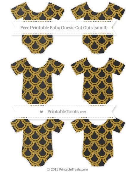 Free Gold Fish Scale Pattern Chalk Style Small Baby Onesie Cut Outs