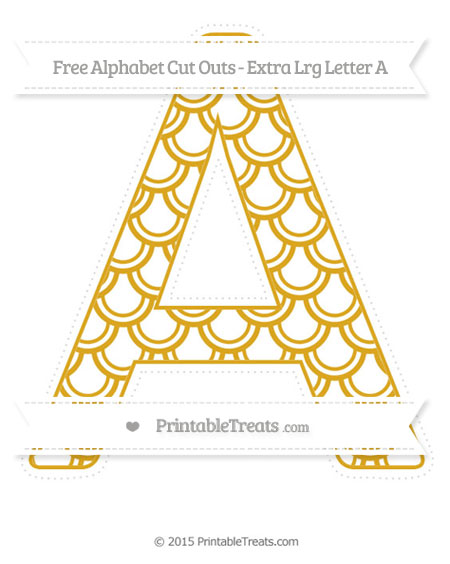 Free Gold Fish Scale Pattern Extra Large Capital Letter A Cut Outs