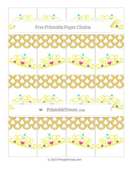 Free Gold Fish Scale Pattern Princess Tiara Paper Chains