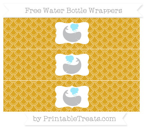 Free Gold Fish Scale Pattern Whale Water Bottle Wrappers