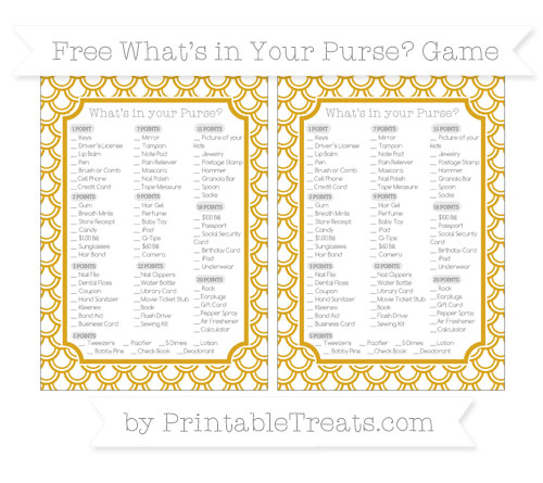Free Gold Fish Scale Pattern What's in Your Purse Baby Shower Game
