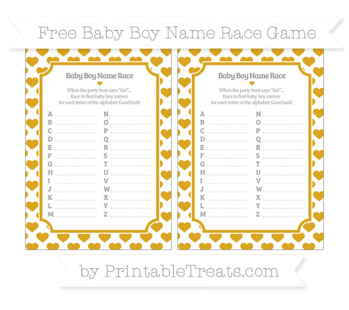 Free Gold Heart Pattern Baby Boy Name Race Game