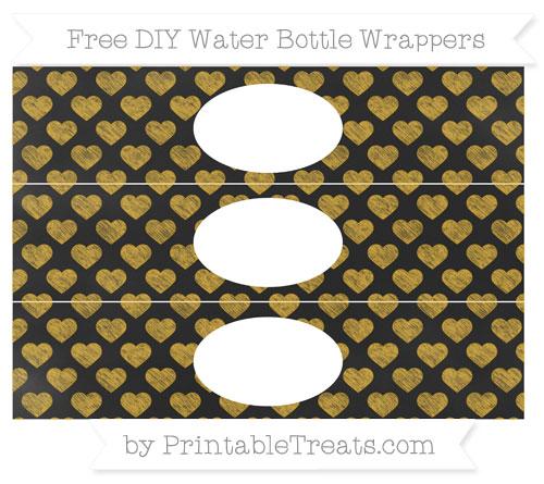 Free Gold Heart Pattern Chalk Style DIY Water Bottle Wrappers