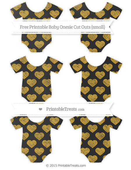 Free Gold Heart Pattern Chalk Style Small Baby Onesie Cut Outs