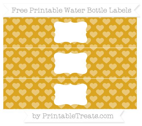Free Gold Heart Pattern Water Bottle Labels