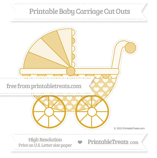 Free Gold Heart Pattern Extra Large Baby Carriage Cut Outs