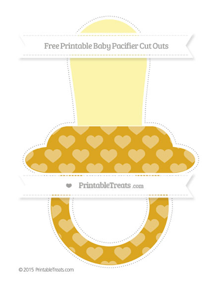 Free Gold Heart Pattern Extra Large Baby Pacifier Cut Outs