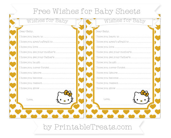 Free Gold Heart Pattern Hello Kitty Wishes for Baby Sheets