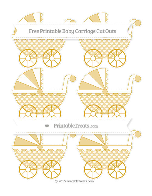 Free Gold Heart Pattern Small Baby Carriage Cut Outs