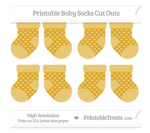 Free Gold Heart Pattern Small Baby Socks Cut Outs