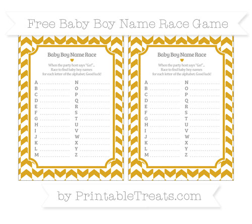 Free Gold Herringbone Pattern Baby Boy Name Race Game