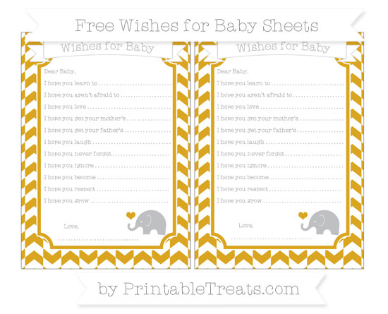 Free Gold Herringbone Pattern Baby Elephant Wishes for Baby Sheets